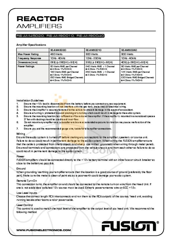 pdf for Fusion Car Amplifier Reactor RE-AM45020 manual