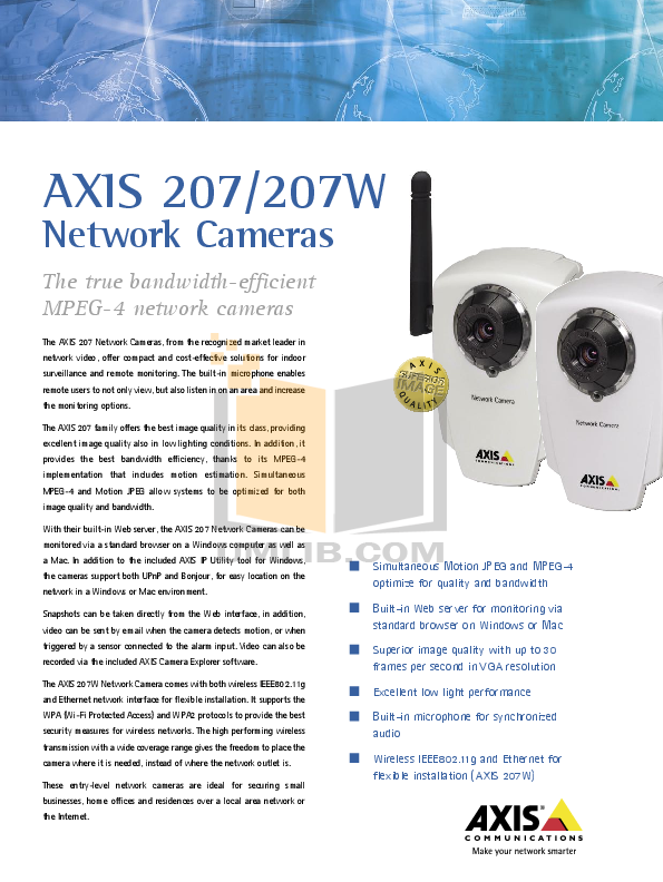 pdf for Axis Security Camera 207W manual