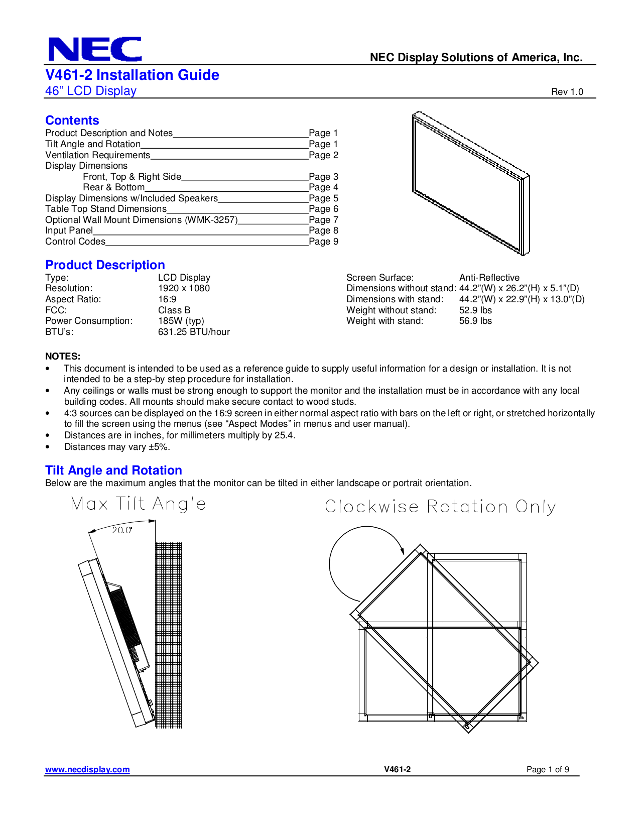 pdf manual for nec monitor v461