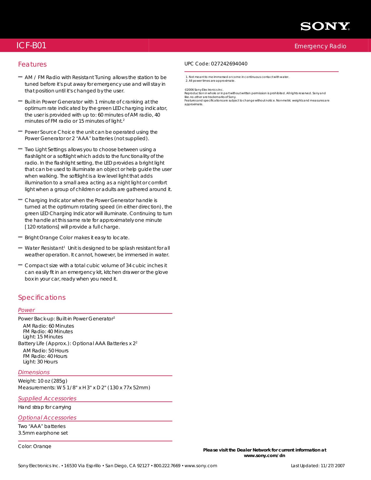 PDF manual for Sony Radio ICF-B01
