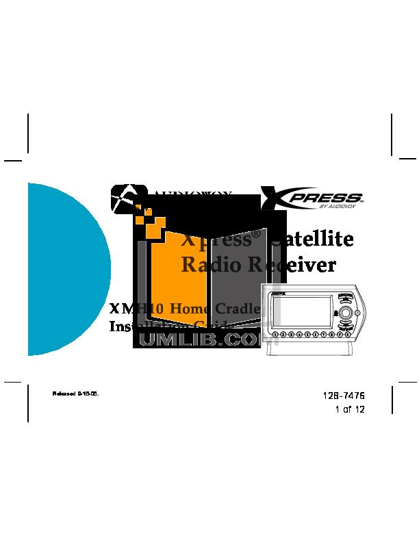 pdf for Audiovox Satellite Radio Xpress XM manual