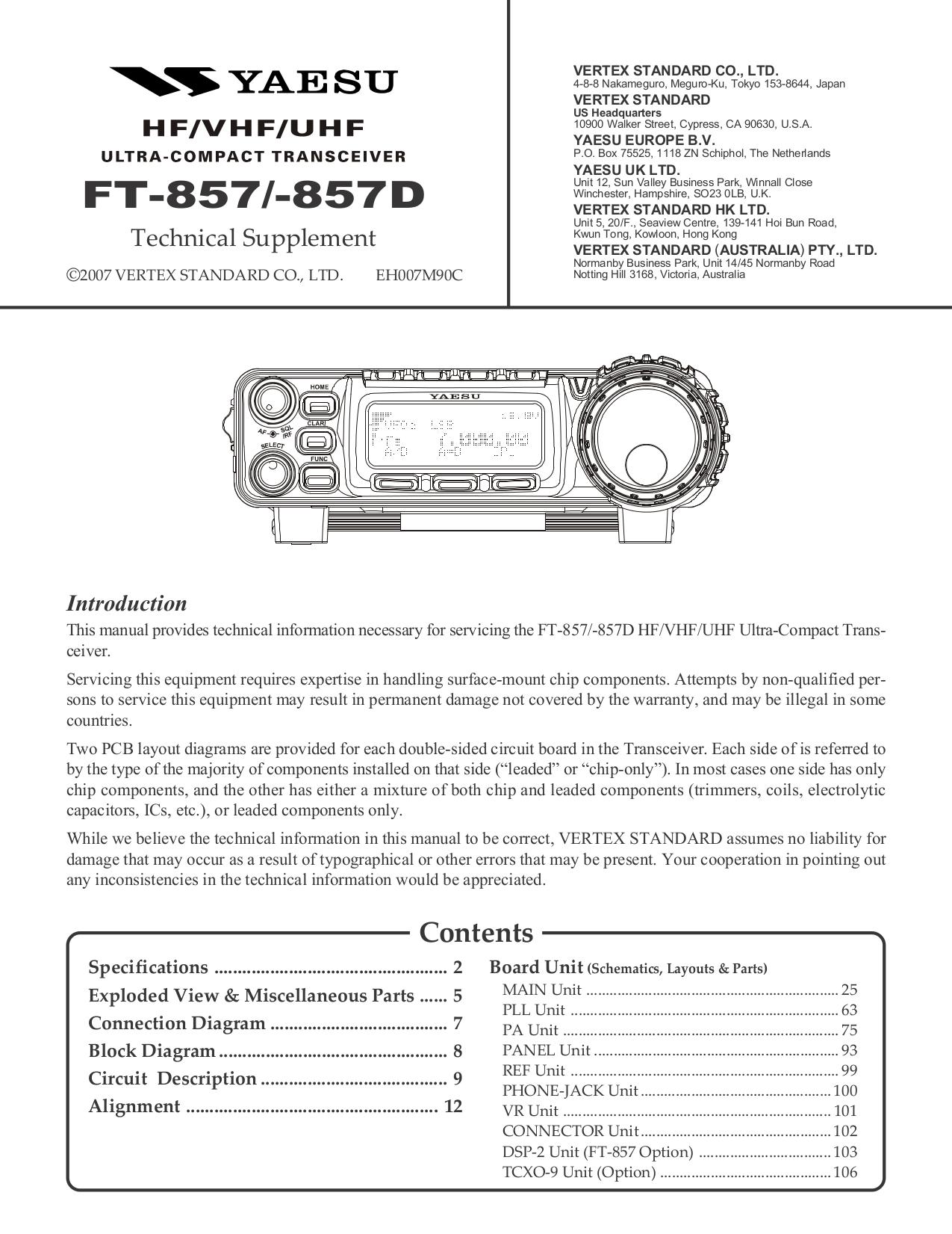 download free pdf for yaesu ft 857d hf transceiver other manual rh umlib com yaesu ft-857d service manual yaesu ft- 857d service manual download