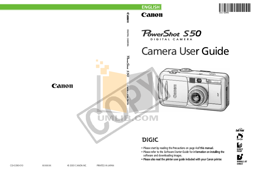 pdf for Canon Digital Camera Powershot S50 manual