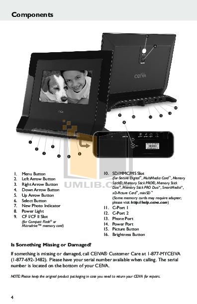 PDF manual for Ceiva Digital Photo Frame LF4008