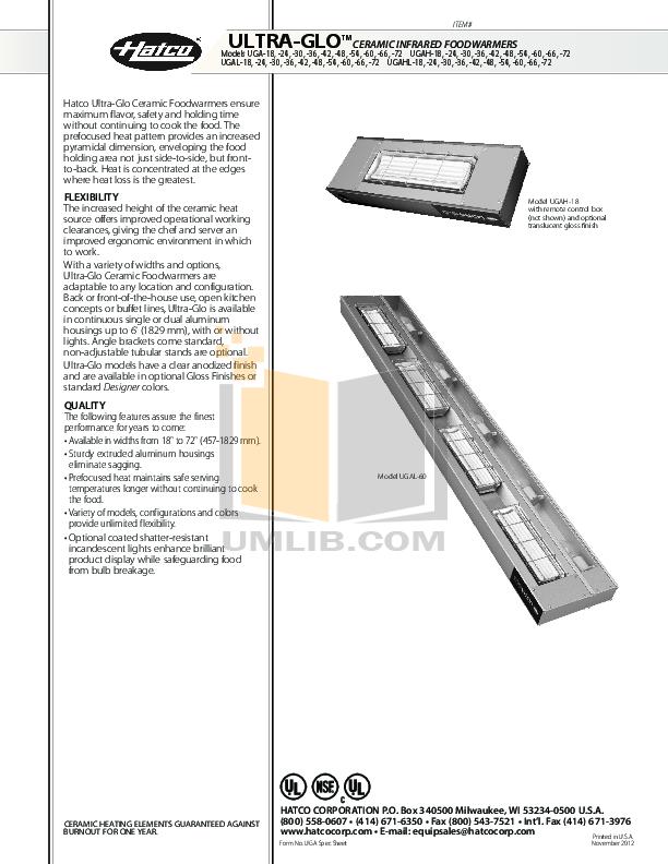 pdf for Hatco Other UGAHL-18 manual