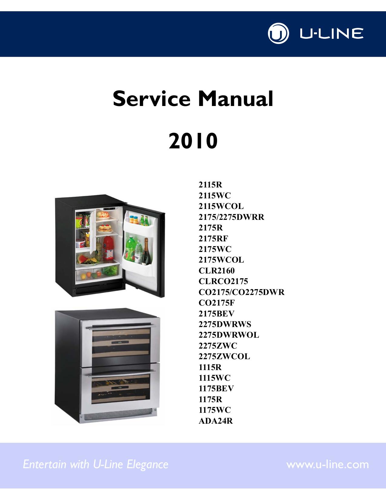 pdf for U-Line Refrigerator Echelon 2115WC manual