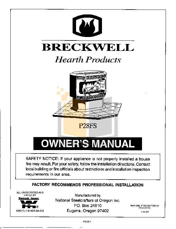 pdf for Breckwell Heating Cooling and Air P28FS manual