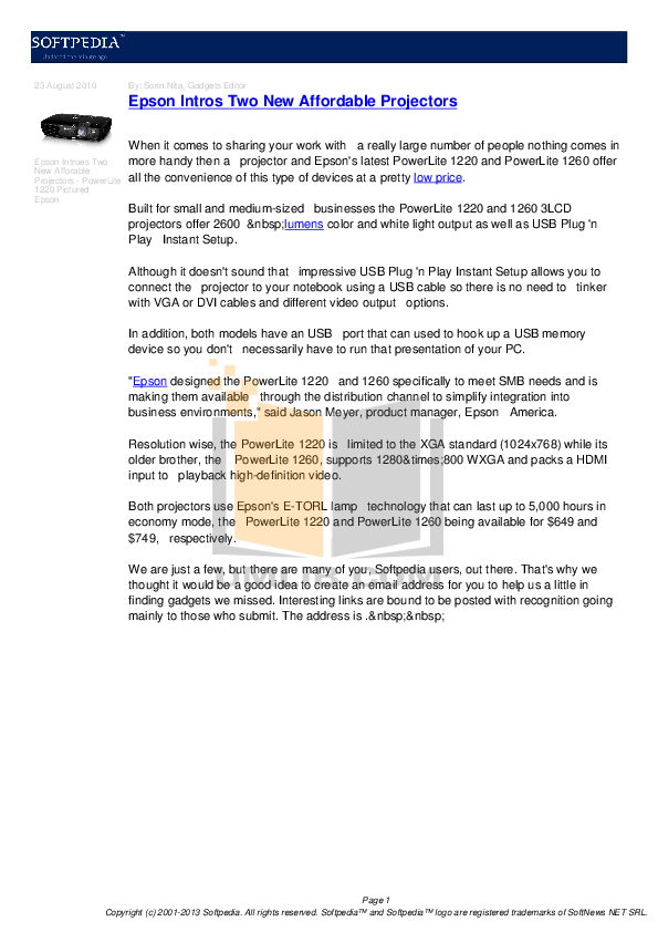 pdf for Epson Projector PowerLite 1260W manual