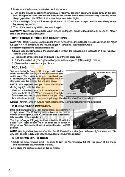 Atn Binocular Night Cougar pdf page preview