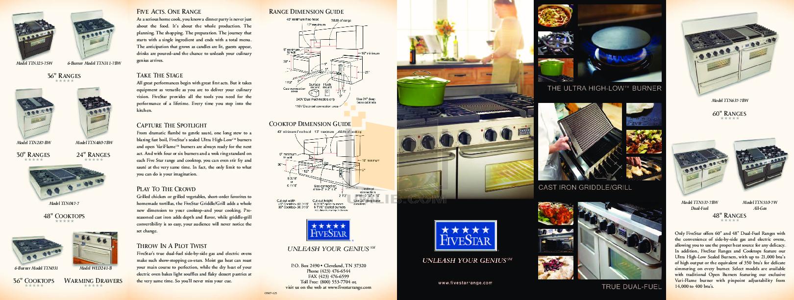 pdf for FiveStar Range TTN325-7BW manual