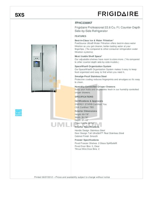 pdf for Frigidaire Refrigerator FFHS2313L manual