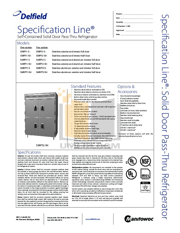 pdf for Delfield Refrigerator SSRPT1-S manual
