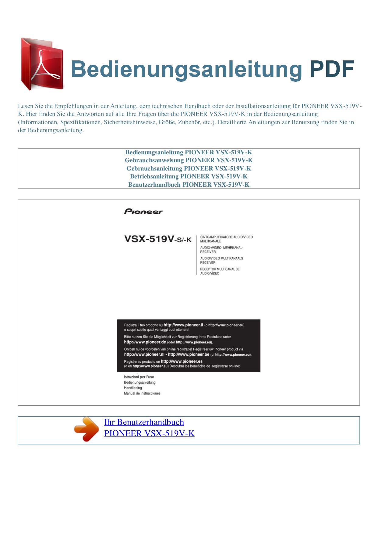 Pioneer vsx-519v-k user manual | 144 pages.