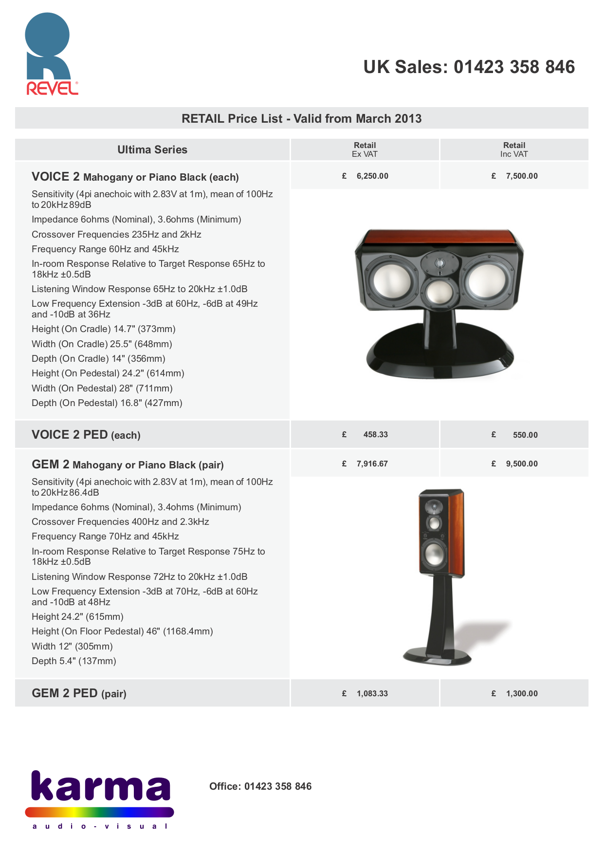 Revel Speaker Ultima2 Gem2 pdf page preview