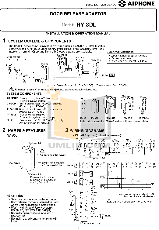 pdf for Aiphone Other KB-3MRD Intercoms manual