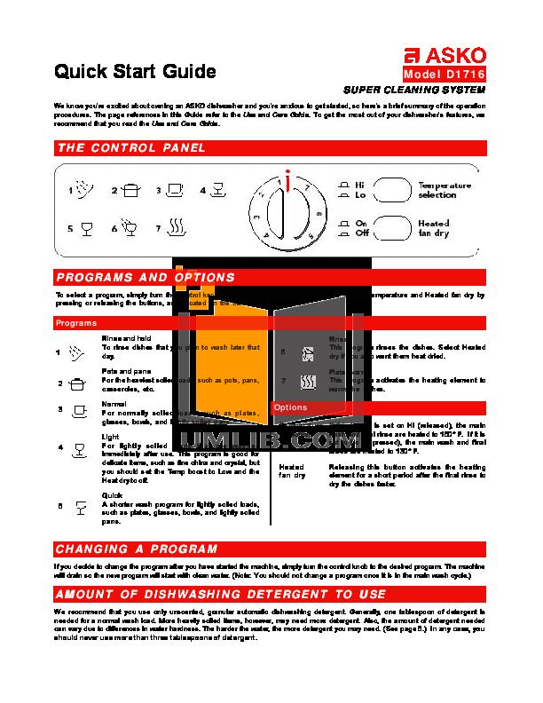 Download Free Pdf For Asko D1716 Dishwasher Manual