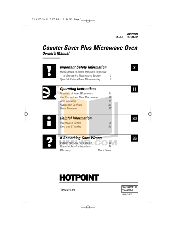 pdf for Hotpoint Microwave RVM1435 manual
