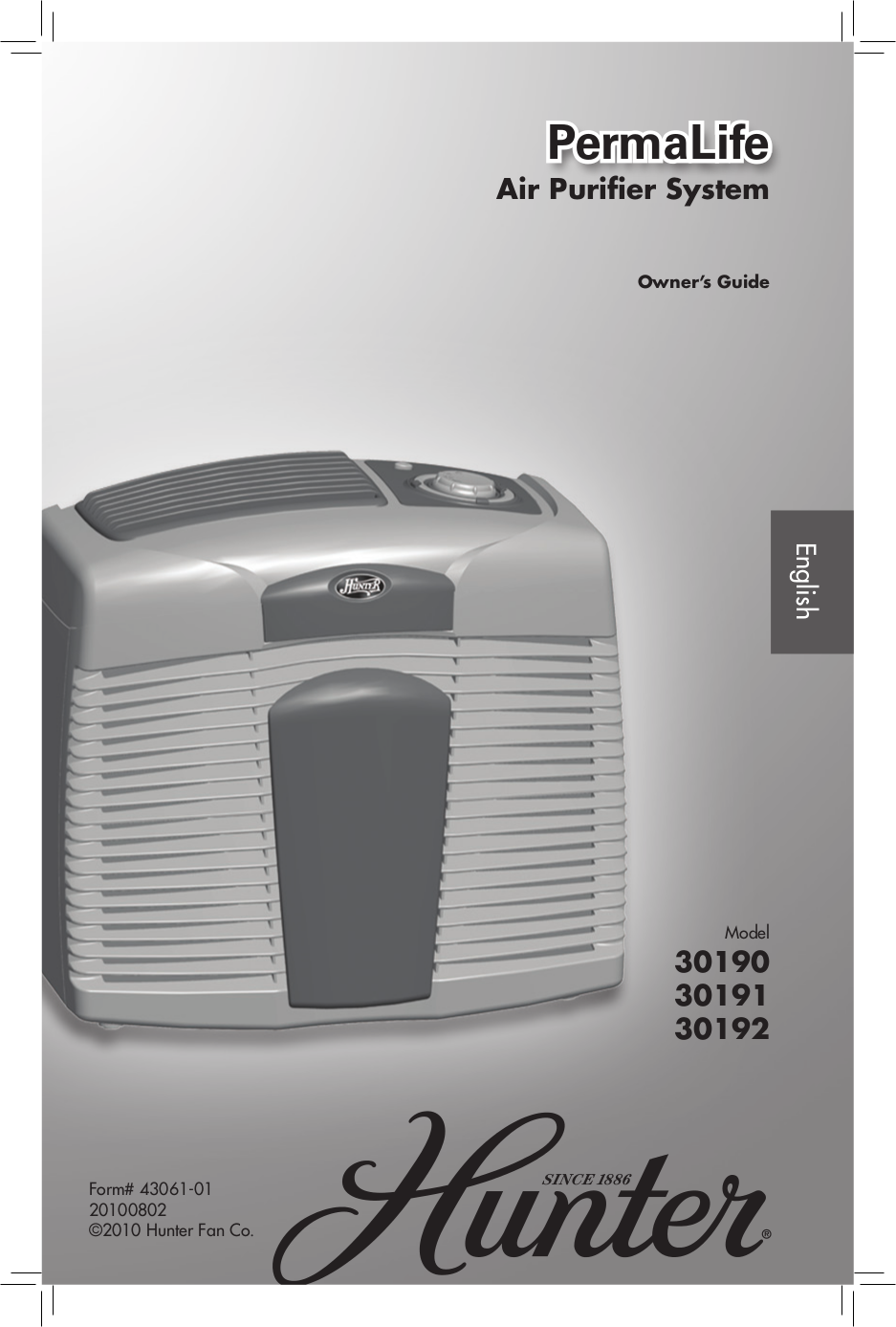 pdf for Hunter Air Purifier 30190 manual