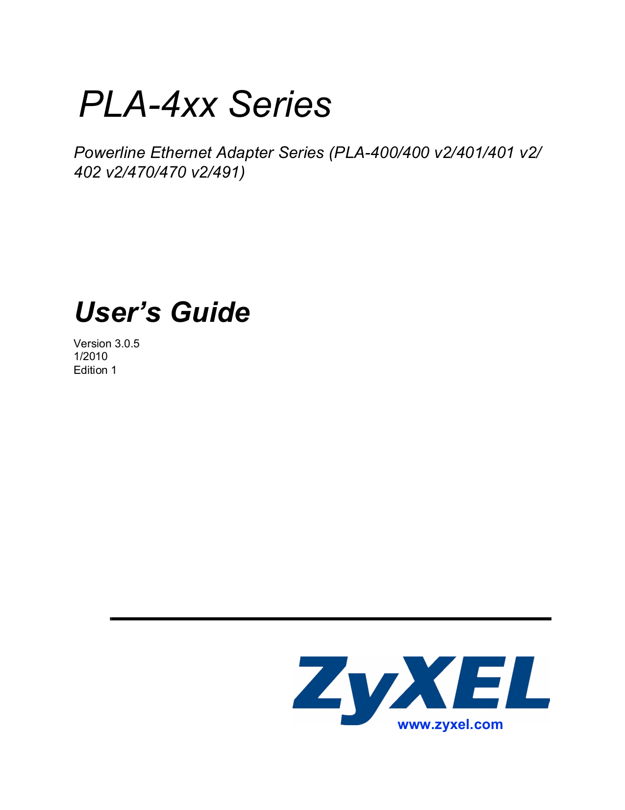 pdf for Zyxel Other PLA-470 V2 Ethernet Adapters manual