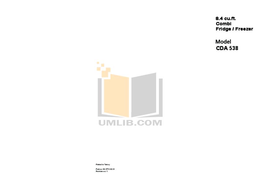 pdf for Beko Refrigerator CDA538 manual