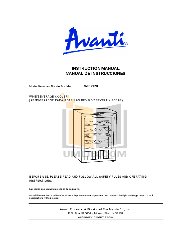 pdf for Avanti Refrigerator WC292D manual