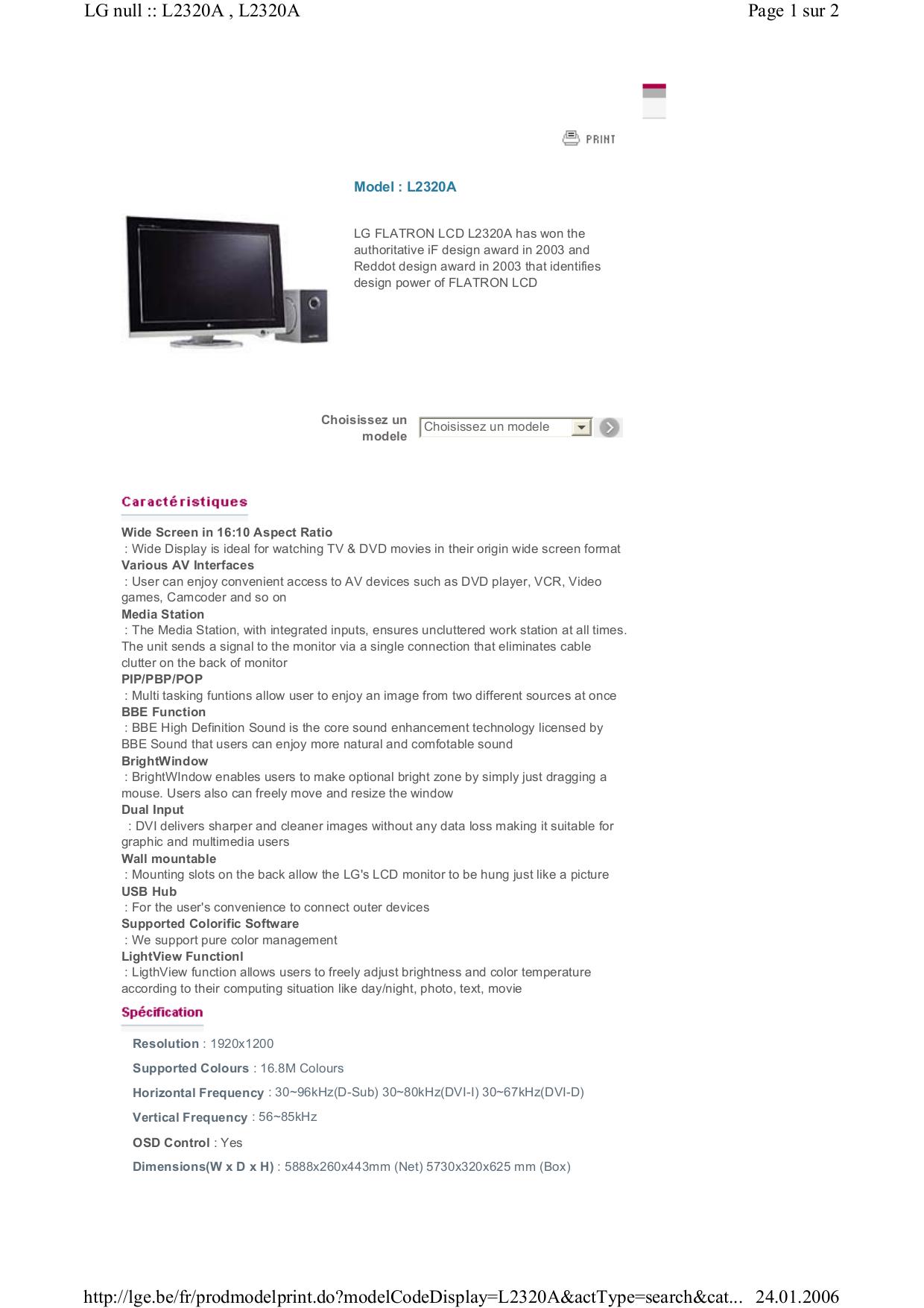 pdf for LG Monitor L2320A manual