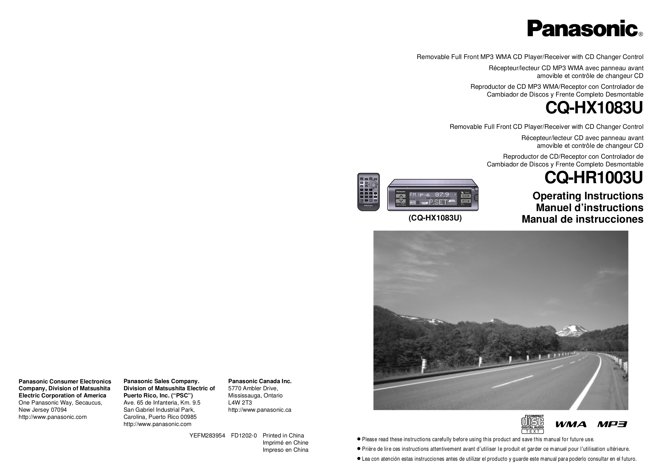 CQHX1083 OIa Eng Fr.pdf 0 download free pdf for panasonic cq hr1003u car receiver manual panasonic cq-hr1003u wiring diagram at crackthecode.co