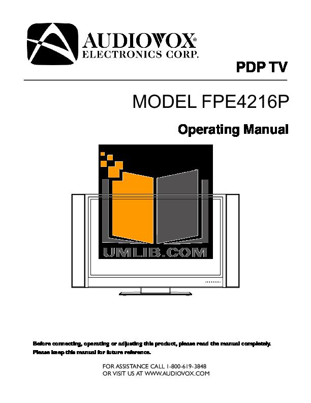 pdf for Audiovox TV FPE4216P manual