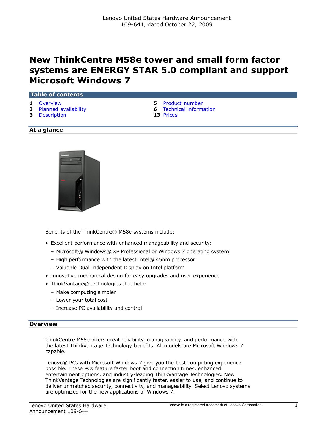 pdf for Lenovo Desktop ThinkCentre M58e 7506 manual