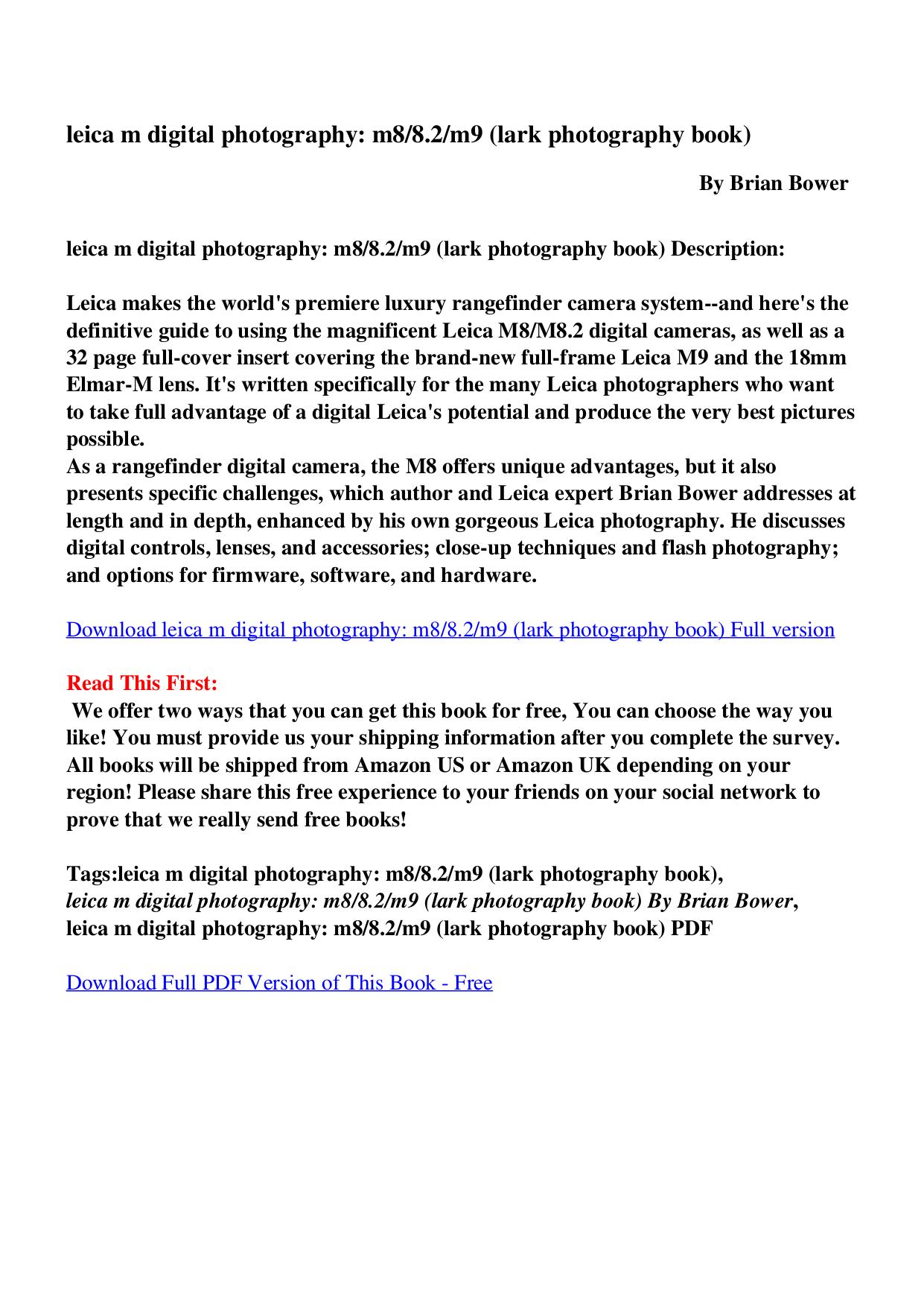 Download free pdf for Leica M9 Digital Camera manual