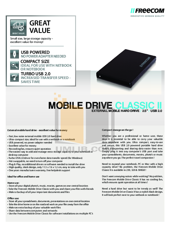 pdf for Freecom Storage Hard Drive Classic manual
