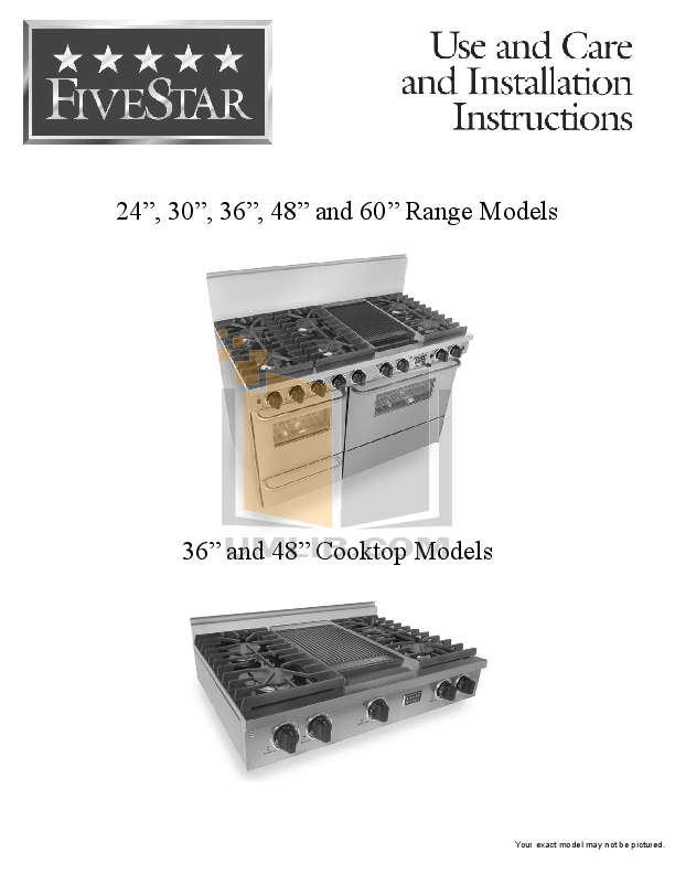 pdf for FiveStar Range TTN510-7BW manual