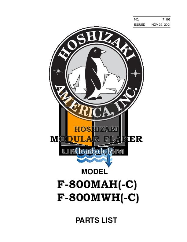 pdf for Hoshizaki Other F-800MAH-C Modular Flakers manual