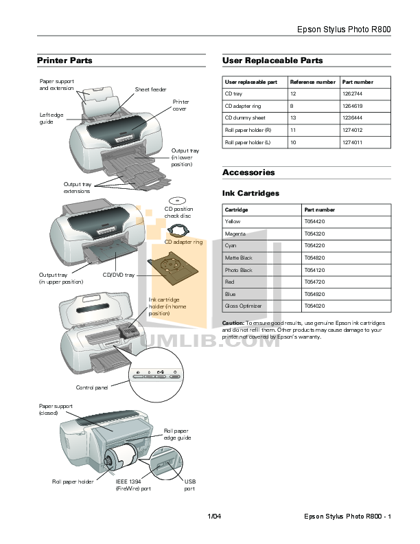pdf for Epson Printer Stylus Photo R800 manual