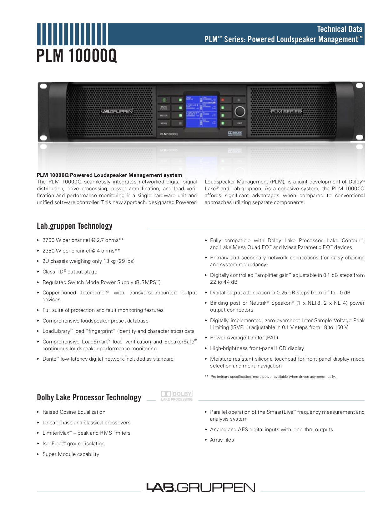 Lab.gruppen Amp PLM Series PLM 10000Q pdf page preview