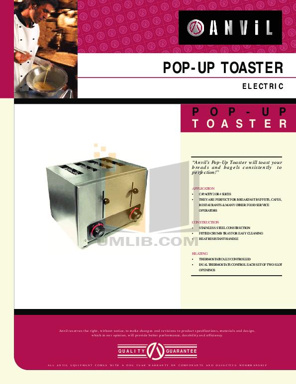 pdf for Anvil Other TSA7004 Toaster manual