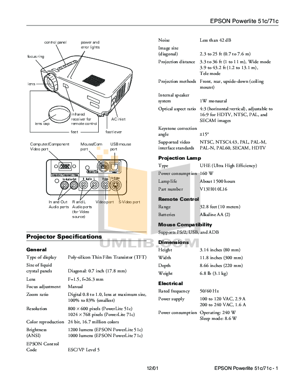 pdf for Epson Projector PowerLite 51c manual