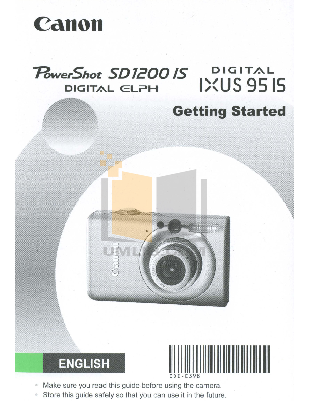 pdf for Canon Digital Camera Powershot SD1200 IS manual