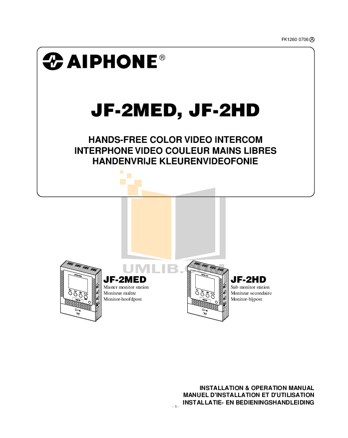 pdf for Aiphone Other AVD-S Intercoms manual