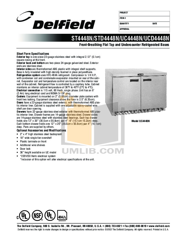 pdf for Delfield Refrigerator ST4448N-8 manual