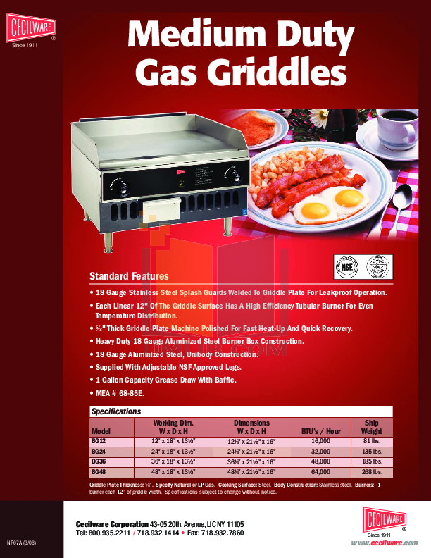 pdf for Cecilware Other HDB-2031 Broilers-Griddles manual