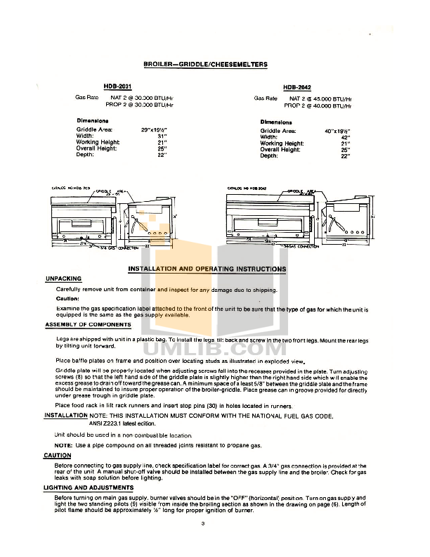 Cecilware Other HDB-2031 Broilers-Griddles pdf page preview