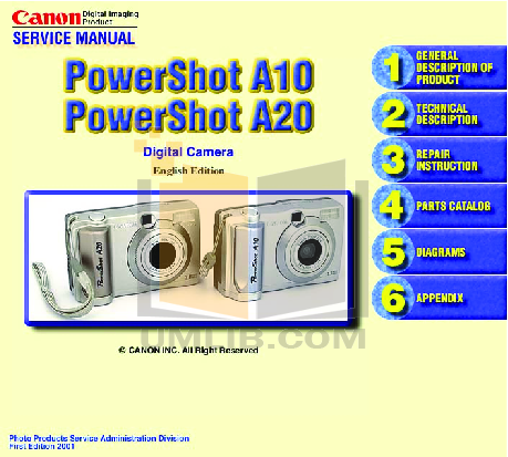 Canon Digital Camera Powershot S10 pdf page preview