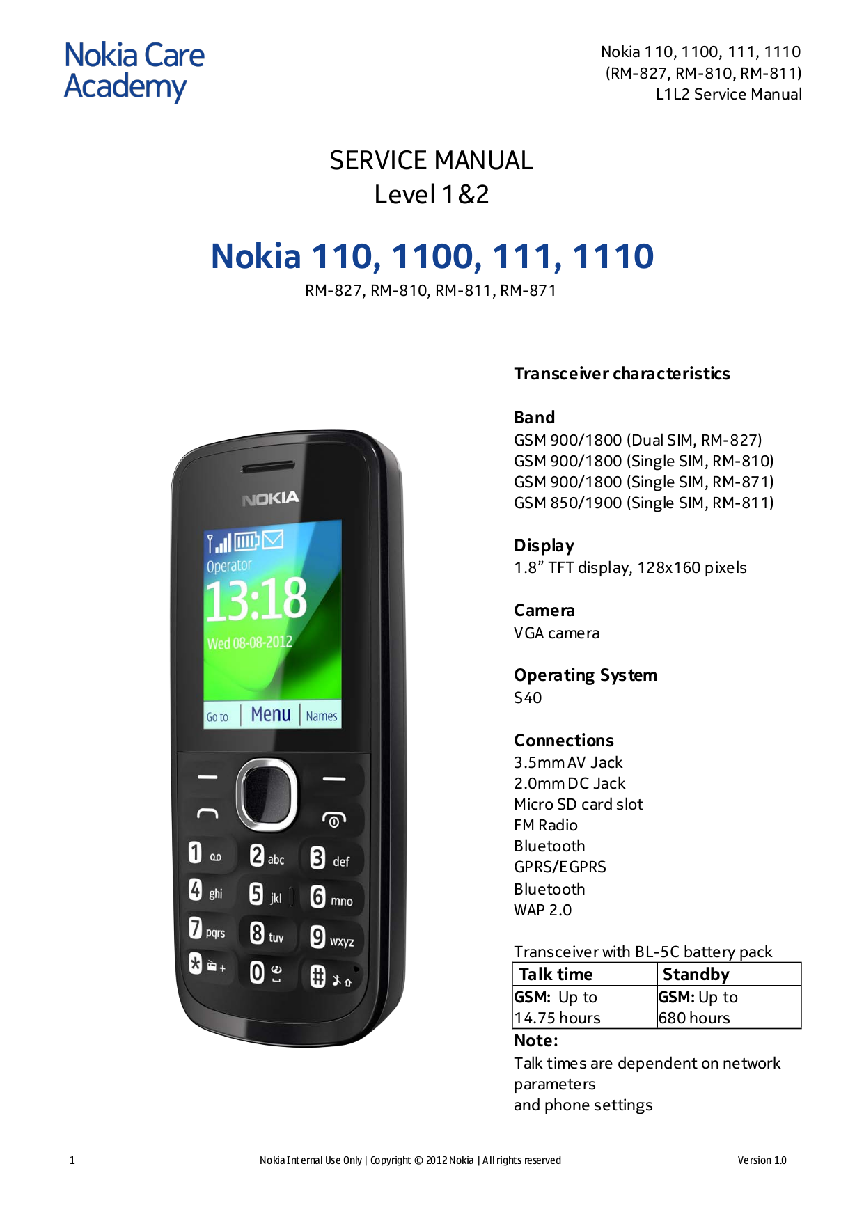 Download free pdf for nokia 1110i cell phone manual.