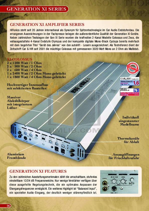 PDF manual for Hifonics Amp Series VI Thor