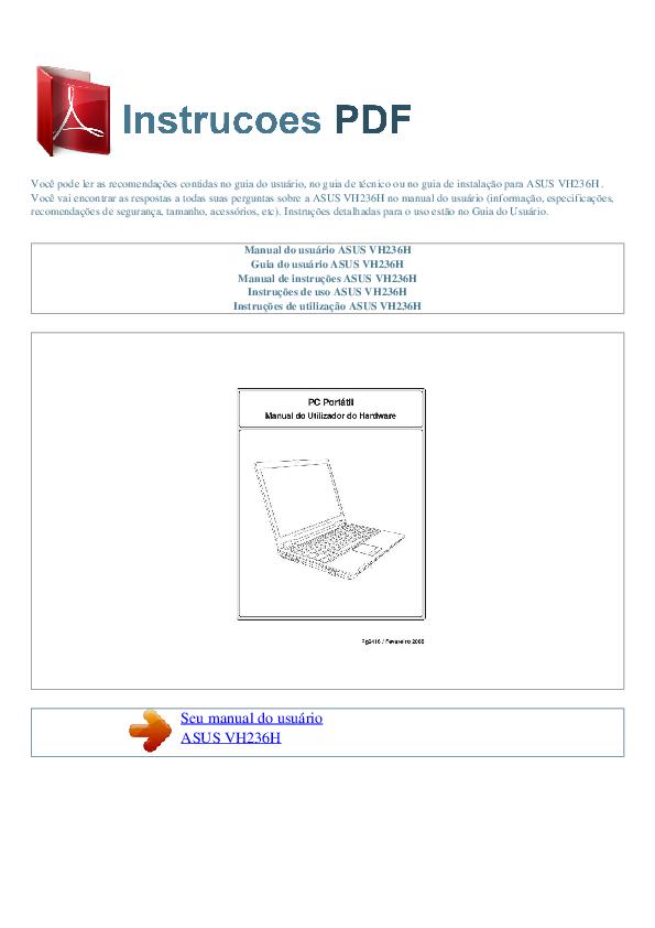 pdf for Asus Monitor VH236H manual