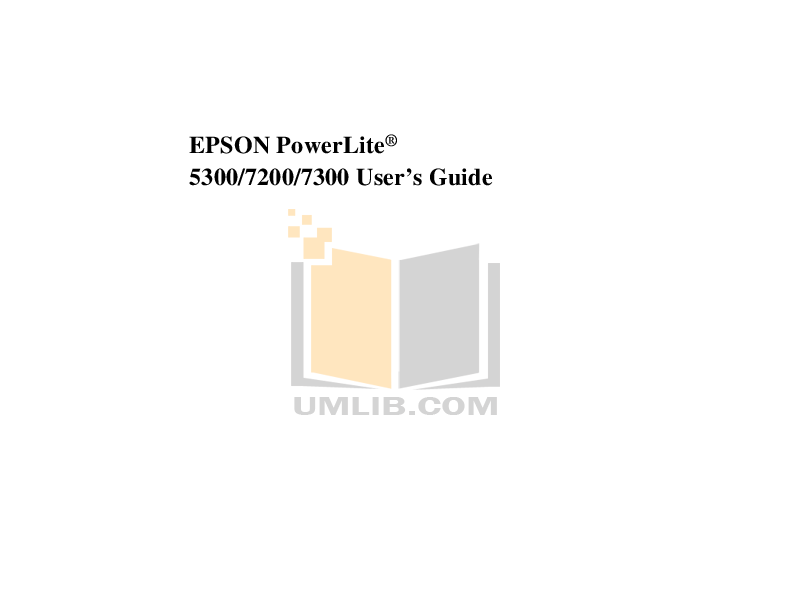 pdf for Epson Projector PowerLite 7200 manual