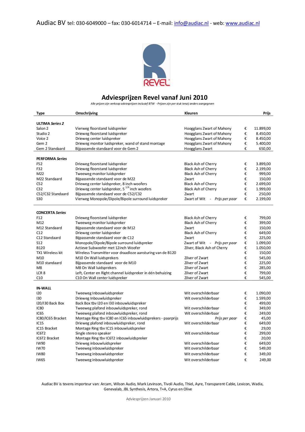 pdf for Revel Speaker Concerta IC80 manual
