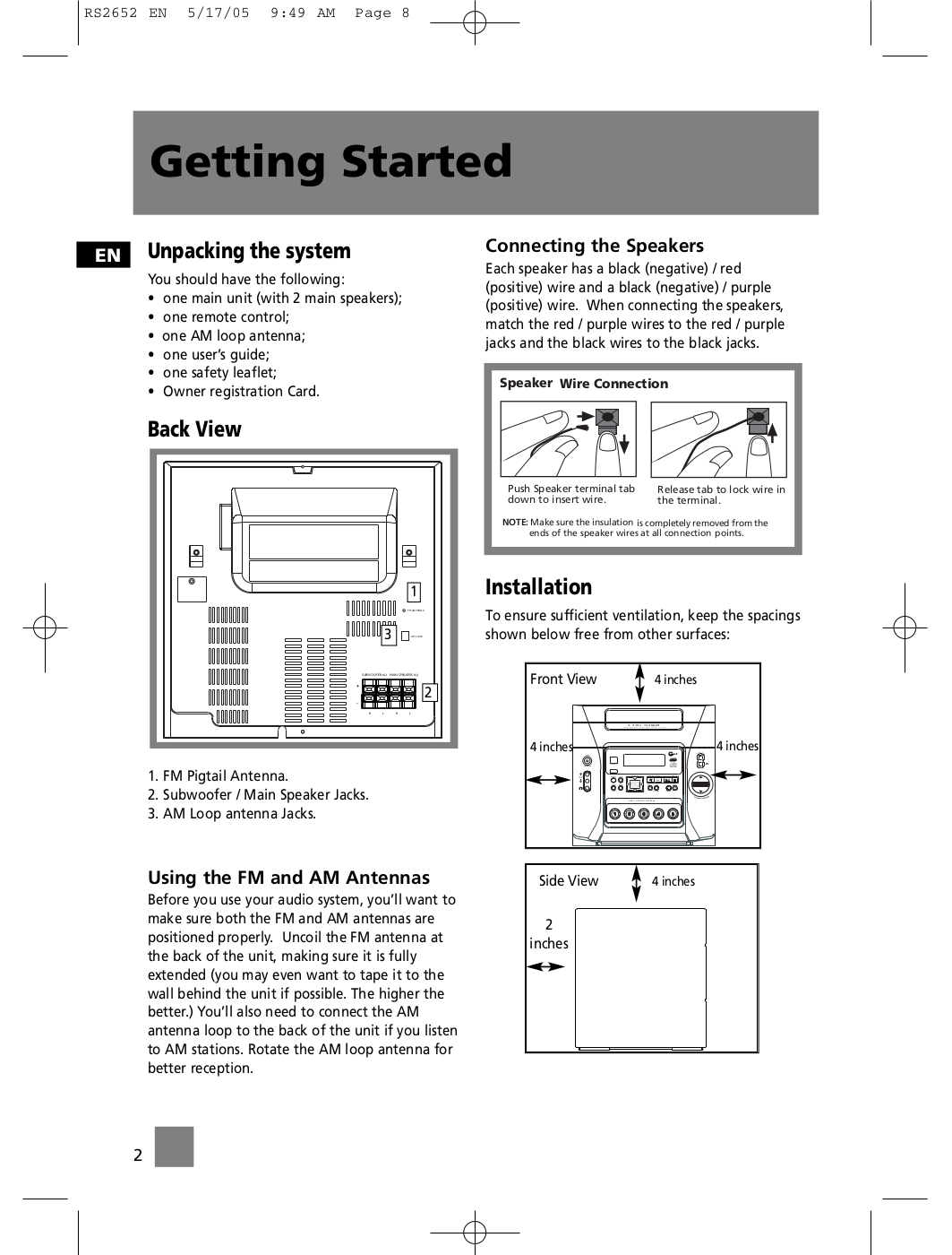 pdf manual for rca other rs2652 stereo systems rh umlib com RCA Home Theater Owners Manual RCA Alarm Clock Radio Manuals