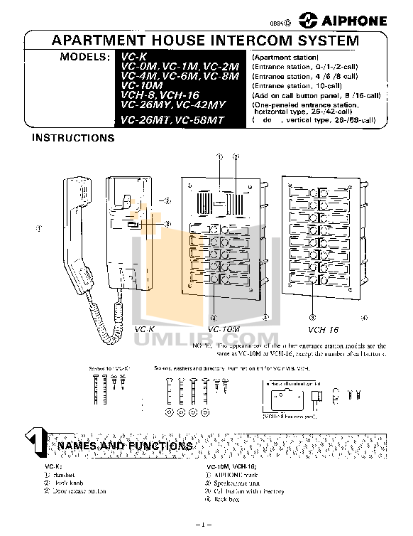 pdf for Aiphone Other VA-K Intercoms manual
